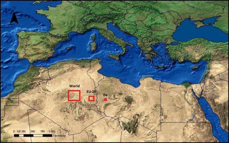 This map shows the area needed to meet the world's energy needs (square on left), the EU's (middle), and Germany's (right). It is less than a third of 1% of the Sahara Desert. Desertec is multi-national program looking to develop this kind of large-scale solar facility and infrastructure.