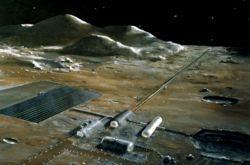 Lunar mass driver which could be used to launch mined material from the moon into lunar orbit using solar power.