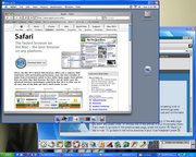 VNC cross-platform remote control screenshot showing a windows PC controlling a Mac and Linux desktop in separate windows